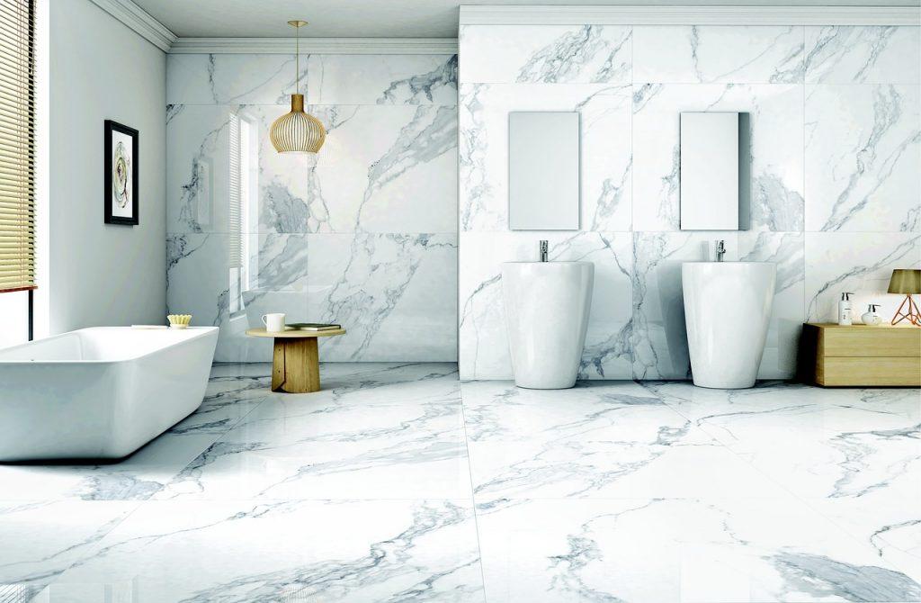 Designed bathroom tiles